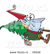 Cartoon Vector of a Happy Christmas Elf Carrying Christmas Tree over His Shoulder by Toonaday