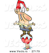 Cartoon Vector of a Happy Christmas Elf Standing on the North Pole by Toonaday