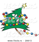 Cartoon Vector of a Happy Christmas Tree Character with Colorful Baubles by Toonaday
