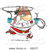 Cartoon Vector of a Happy Cowboy Santa Swinging Lasso Rope by Toonaday
