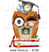 Cartoon Vector of a Happy Diverse Student Kids in an Owl School House by BNP Design Studio