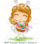 Cartoon Vector of a Happy Easter Girl Carrying Basket Full of Eggs by BNP Design Studio