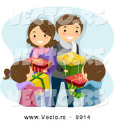 Cartoon Vector of a Happy Family Exchanging Gifts on Christmas by BNP Design Studio