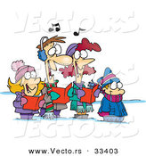 Cartoon Vector of a Happy Family Singing Christmas Carols by Toonaday