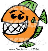 December 27th, 2017: Cartoon Vector of a Happy Fish with a Big Teeth - Orange and Green Theme by Zooco