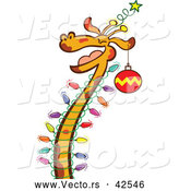 Cartoon Vector of a Happy Giraffe Celebrating Chrismtas with Lights and Ornaments by Zooco