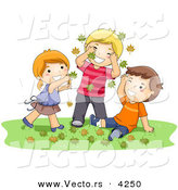 Cartoon Vector of a Happy Girl and 2 Boys Playing in Autumn Leaves by BNP Design Studio