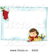 Cartoon Vector of a Happy Girl and Stocking Composited on a Blank Snow Frame for Christmas by BNP Design Studio