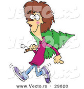 Cartoon Vector of a Happy Girl Carrying a Christmas Tree by Toonaday
