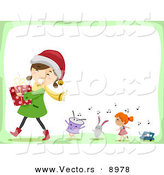 Cartoon Vector of a Happy Girl Carrying a Present Followed by Singing Toys on Christmas by BNP Design Studio