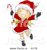 Cartoon Vector of a Happy Girl Dancing with Candy Cane on Christmas by BNP Design Studio