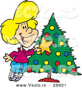 Cartoon Vector of a Happy Girl Decorating a Christmas Tree with a Gold Star by Toonaday