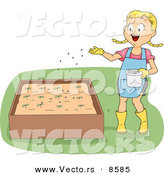 Cartoon Vector of a Happy Girl Fertilizing Plants in a Raised Garden Bed by BNP Design Studio