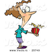 Cartoon Vector of a Happy Girl Giving Present by Toonaday