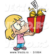 Cartoon Vector of a Happy Girl Giving Present to Dad by Toonaday