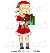 Cartoon Vector of a Happy Girl Holding a Wrapped Christmas Present by BNP Design Studio