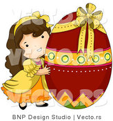 Cartoon Vector of a Happy Girl Hugging Giant Red Easter Egg by BNP Design Studio