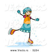 Cartoon Vector of a Happy Girl Ice Skating in the Snow by BNP Design Studio