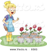 Cartoon Vector of a Happy Girl Looking at 5 Potted Red Flowers by BNP Design Studio