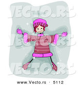 Cartoon Vector of a Happy Girl Making a Snow Angel by BNP Design Studio