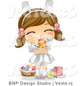 Cartoon Vector of a Happy Girl Painting Easter Eggs by BNP Design Studio