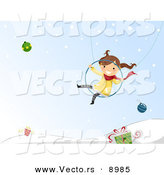 Cartoon Vector of a Happy Girl Swinging over Winter Background with Baubles and Gifts by BNP Design Studio