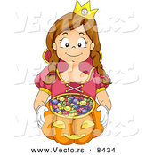 Cartoon Vector of a Happy Girl Trick-or-Treating As a Princess by BNP Design Studio