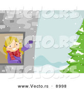 Cartoon Vector of a Happy Girl Waving from a Tower Window with Winter Landscape and Tree by BNP Design Studio