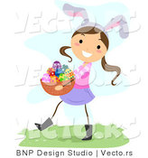 Cartoon Vector of a Happy Girl Wearing Bunny Ears While Carrying a Basket of Eggs by BNP Design Studio