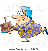 Cartoon Vector of a Happy Grandma Carrying a Birthday Cake by Toonaday