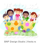 Cartoon Vector of a Happy Group of Diverse Children in a Huge Easter Egg by BNP Design Studio