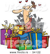 Cartoon Vector of a Happy Guy Giving Himself Lots of Presents by Toonaday