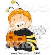 Cartoon Vector of a Happy Halloween Baby Boy Wearing a Bee Costume and Hugging a Pumpkin by BNP Design Studio