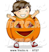 Cartoon Vector of a Happy Halloween Boy in a Jack O'Lantern Costume by BNP Design Studio