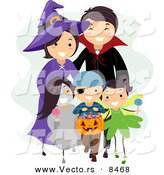 Cartoon Vector of a Happy Halloween Family Trick-or-Treating by BNP Design Studio