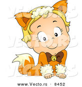 Cartoon Vector of a Happy Halloween Fox Girl Leaning over a Blank Sign by BNP Design Studio