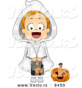 Cartoon Vector of a Happy Halloween Ghost Girl Holding Candy Bag by BNP Design Studio