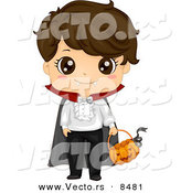 Cartoon Vector of a Happy Halloween Vampire Boy with a Pumpkin Basket by BNP Design Studio