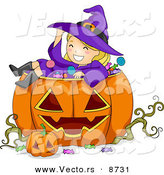 Cartoon Vector of a Happy Halloween Witch Girl Sitting in a Jack O'Lantern by BNP Design Studio