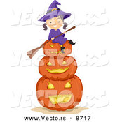 Cartoon Vector of a Happy Halloween Witch Girl Sitting on Jack O'Lanterns by BNP Design Studio