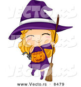 Cartoon Vector of a Happy Halloween Witch Girl with a Pumpkin Basket by BNP Design Studio