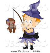 Cartoon Vector of a Happy Halloween Witch Girl with a Voodoo Doll on a Stick by BNP Design Studio