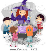 Cartoon Vector of a Happy Halloween Witch with Kids Around a Cauldron Filled with Purple Potion by BNP Design Studio