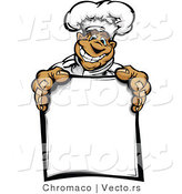 Cartoon Vector of a Happy Hispanic Chef Mascot Holding Blank Sign by Chromaco