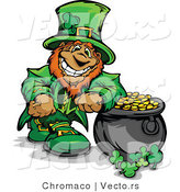 Cartoon Vector of a Happy Leprechaun Mascot Standing Beside Full Pot of Gold by Chromaco