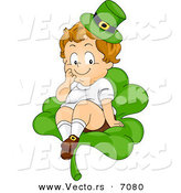 Cartoon Vector of a Happy Leprechaun Toddler Boy Sitting on a Large Shamrock Seat by BNP Design Studio