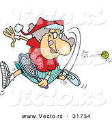 Cartoon Vector of a Happy Mrs. Claus Playing Tennis by Toonaday