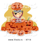 Cartoon Vector of a Happy Pirate Halloween Boy Surrounded by Jack O'Lanterns by BNP Design Studio