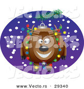 Cartoon Vector of a Happy Reindeer Christmas Ornament on a Tree by Toonaday