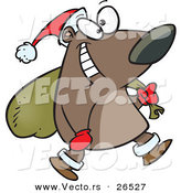 Cartoon Vector of a Happy Santa Bear Carrying a Sack Full of Presents by Ron Leishman